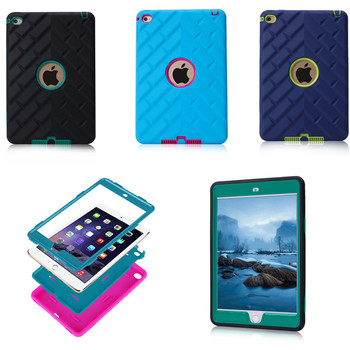 Tire profile For Apple Ipad Mini 4 Heavy Duty Armor Cover Shock Proof Silicone Hard PC Back Case For ipad mini4 Tablet PC