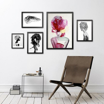 Fashion Trendy Girls Canvas Painting Abstract Figures Canvas Print Women Wall Art Room Picture, Home Decor YT0062