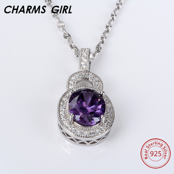 CHARMS GIRL 925 Sterling Silver Necklace Wedding Party Decoration Fine Jewelry Stones Chokers Necklaces for Women Friendship